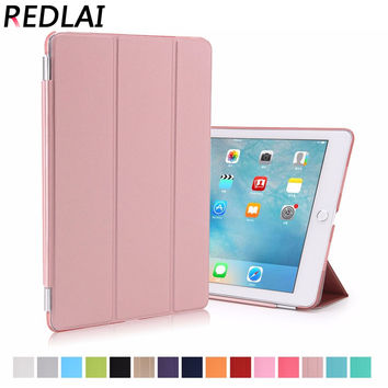 Redlai Fashion Ultra Slim Magnetic Front Smart Cover with Matte Transparent Plactic Back Skin Case For iPad Pro 9.7 inch