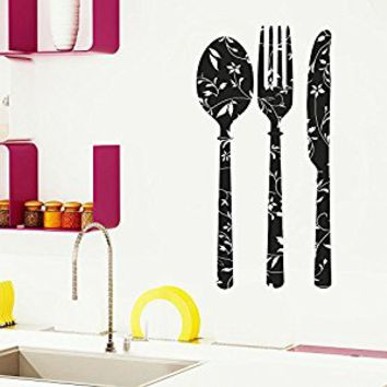 Wall Decal Vinyl Sticker Decals Art Decor Design Kitchen Stuff Fork Spoon Knife Vintage Pattent Cutlery Silverware Dining Room (r1096)