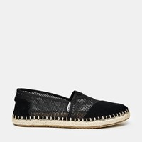 TOMS Black Mesh Espadrille Slip On Shoes