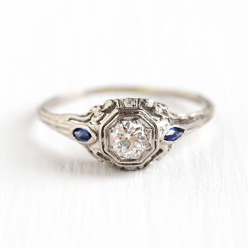 1920s Engagement Ring - Platinum Art Deco .32 CTW Diamond Engagement - Size 8 1/2 Vintage Sapphire Flower Filigree Fine Appraisal Jewelry