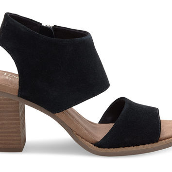 BLACK SUEDE WOMEN'S MAJORCA CUTOUT SANDALS