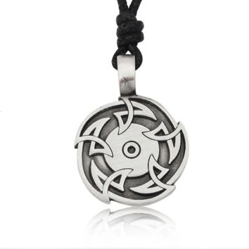 Sun Wheel Silver Pewter Charm Necklace Pendant Jewelry