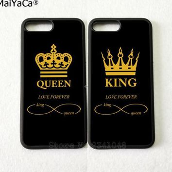 Cool king and queen love forever best friends silicone softe edge phone cases for iPhone 5s se 6 6s plus 7 7plus 8 8plus X XR XS MAXAT_93_12