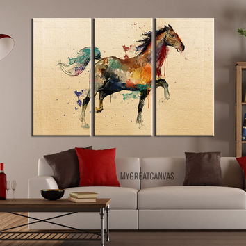 Large Wall Art Canvas Print Arabic Horse Drawing - Watercolor Horse Watercolor 3 Piece Canvas Art Print