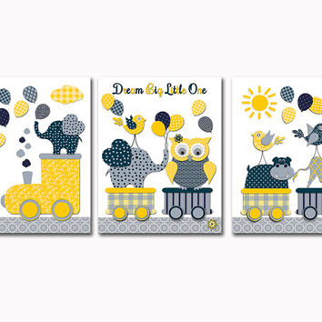 Animals Nursery wall art neutral kids room decor baby boy girl room artwork shower decoration toddler gift train giraffe elephant poster