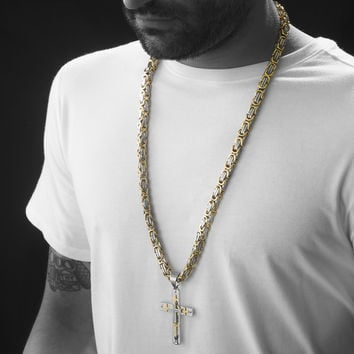 """Mens 30"""" HEAVY Stainless Steel Gold Silver Cross Pendant Necklace"""