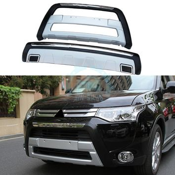 Chromed Front&Rear Bumpers Guard Protector For Mitsubishi Outlander PHEV 13-15