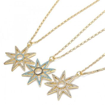 Gold Layered Fancy Necklace, with Micro Pave, Golden Tone