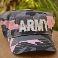 Army Girlfriend Hat, Army Wife Hat, or Army Mom Hat- FREE rhinestone name on brim personalization included!