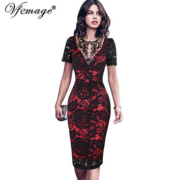 Vfemage Womens Embroidery Elegant Vintage Embroidered Lace Casual Party Mother of Bride Special Occasion Bodycon Dress 3086