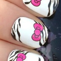 NAIL ART WRAP WATER TRANSFER DECALS PINK HELLO KITTY BOWS & ZEBRA PRINT #100