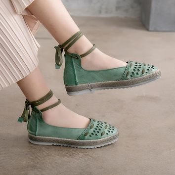 Tyawkiho Genuine Leather Women Flats Spring 2018 Green Low Heel Shoes Ankle Strap Retro Handmade Women Leather Flats Casual