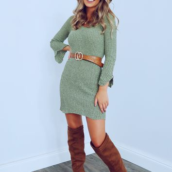 The Time Is Now Dress: Dusty Olive