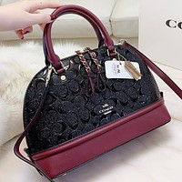 COACH Fashion pattern leather shopping leisure shell shape handbag shoulder bag crossbody bag