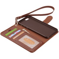 Iphone 6s Case, iphone 6 case, Arae Apple Iphone 6 / 6s [Wrist Strap] Flip Folio [Kickstand Feature] PU leather wallet case with ID&Credit Card Pockets (Brown)