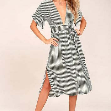 Faithfull the Brand Mustang Olive Green Striped Midi Dress