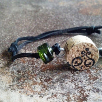Wine cork bracelet Beads made from actual wine bottles Adjustable leather