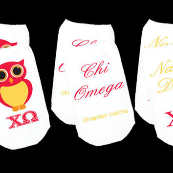 Custom Printed Personalized Sorority Socks - Chi Omega and More - Set of 3 Pairs