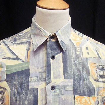 Retro 90's Blue Yellow Crazy Pattern Indie Shirt Large