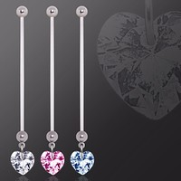 BioFlex Pregnancy Navel Ring with Heart Dangle