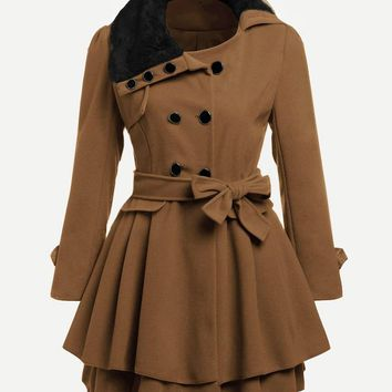 Neutral Faux Fur Collar Double Breasted Trench Coat
