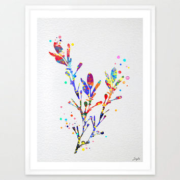 Branch and leaves Watercolor illustration Art Print,Wall Art Poster,Home Decor,Wall Hanging,Kids/nursery art,Wedding/Birthday Gift idea,#128