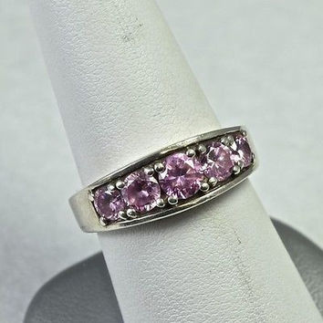 Estate Sterling Silver Ring With Pink Cubic Zirconia 925 Handmade Jewelry