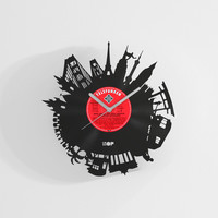 Around the World travel wall clock from upcycled vinyl record (LP) | Hand-made gift for travel lover | Wall decoration for traveler