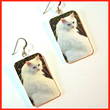 White Cat Earrings Polymer Clay Digital Image Transfer 1 in x 1 1/2 Dangle Nature Series Art Earrings