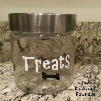Glass Doggie treat container