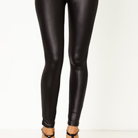 Quit Wasting Time Faux Leather Legging