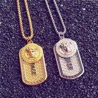 PEAPYV2 Versace Women Jewelry Medusa Logo Hip-Hop Necklace