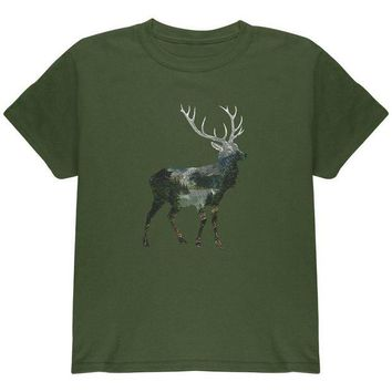 CUPUPWL Deer Forest Nature Hiking Hunting Youth T Shirt