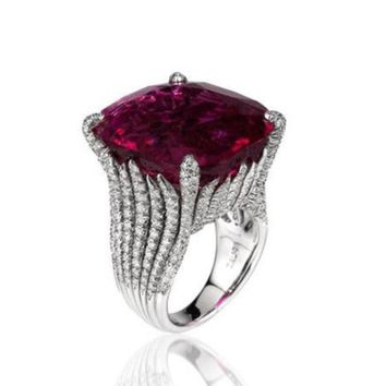 Vintage Exaggerated Women Rings With Crystals Luxury Big Red Zirconia Ring Fashion Jewelry Signet Rings For Women A0414