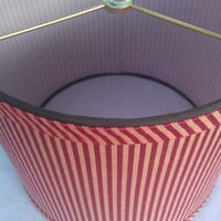 Lamp Shade Drum Wine Red and Yellow Gold Striped Upholstery Fabric,  Self Made Bias Cut Fabric Trim, and Brown Grosgrain Ribbon Trim
