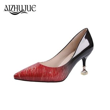MS 2018 Women pumps Fashion pointed toe patent leather stiletto high heels shoes Spring Summer Wedding Shoes woman high heels