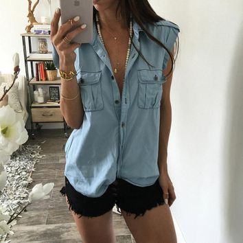 Women Denim Blouse Short Sleeve Solid Color Turn Down Collar Jean Shirt Ladies Girls Blouses Pocket Loose Casual Tops  J