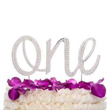 One Cake Topper - Silver