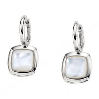 EBONY & IVORY Huggie Earrings - Fashionable Sterling Silver and MOP