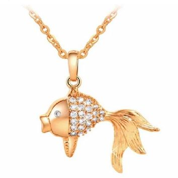 Lovely Austrian Crystal Gold Fish Style Pendant Necklace