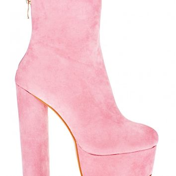 Baby Spice Extreme Platform Ankle Boots In Pink Faux Suede