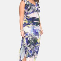 Plus Size Women's ELOQUII Back Cutout Print Jersey Maxi Dress,
