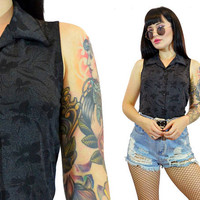 vintage 90s slinky floral tank top 1990s soft grunge gothic button up blouse black + gray shirt sleeveless small