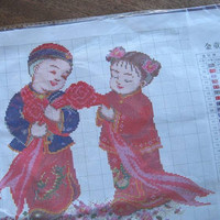 Adorable Vintage Cross-Stitch Pattern w/ Chinese Couple; Retro Asian/Bohemian Decorative Picture to Sew; U.S. Shipping Included