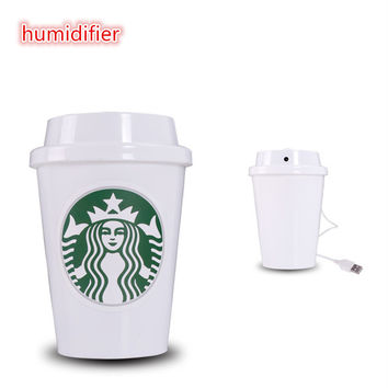 Usb humidifier portable water bottle ultrasonic humidifier starbuck mist maker desktop humidifier suitable for home office