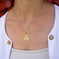 Small Triangle Necklace - Geometric Necklace, Triangle pendant, Gold triangle necklace, Silver triangle necklace, Triangle jewelry