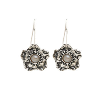 Grasset Columbine Floral Pearl Drop Sterling Silver Earring