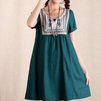 1/2 color/ Green Long Skirt / Casual Skirt/Cotton Skirt/Sleeveless Dress/Summer clothes