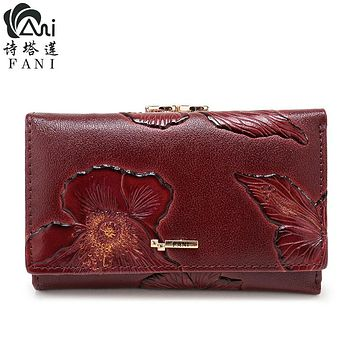 FANI Brand Women Wallets Fashion Flower Print Genuine Leather Wallets Three Folding Multi-function Hasp Simple Women Purse