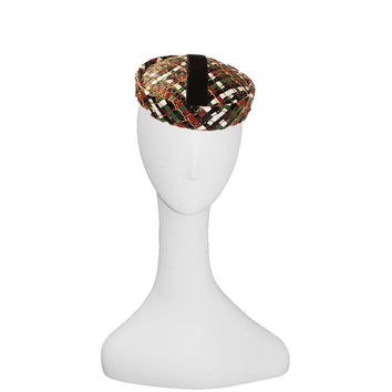 60s Mod Pillbox Hat in Plaid Cellophane Straw